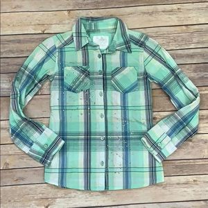 Justice Green Plaid Top